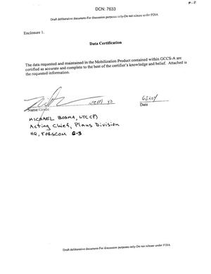 Primary view of object titled 'Data Certification Letter'.