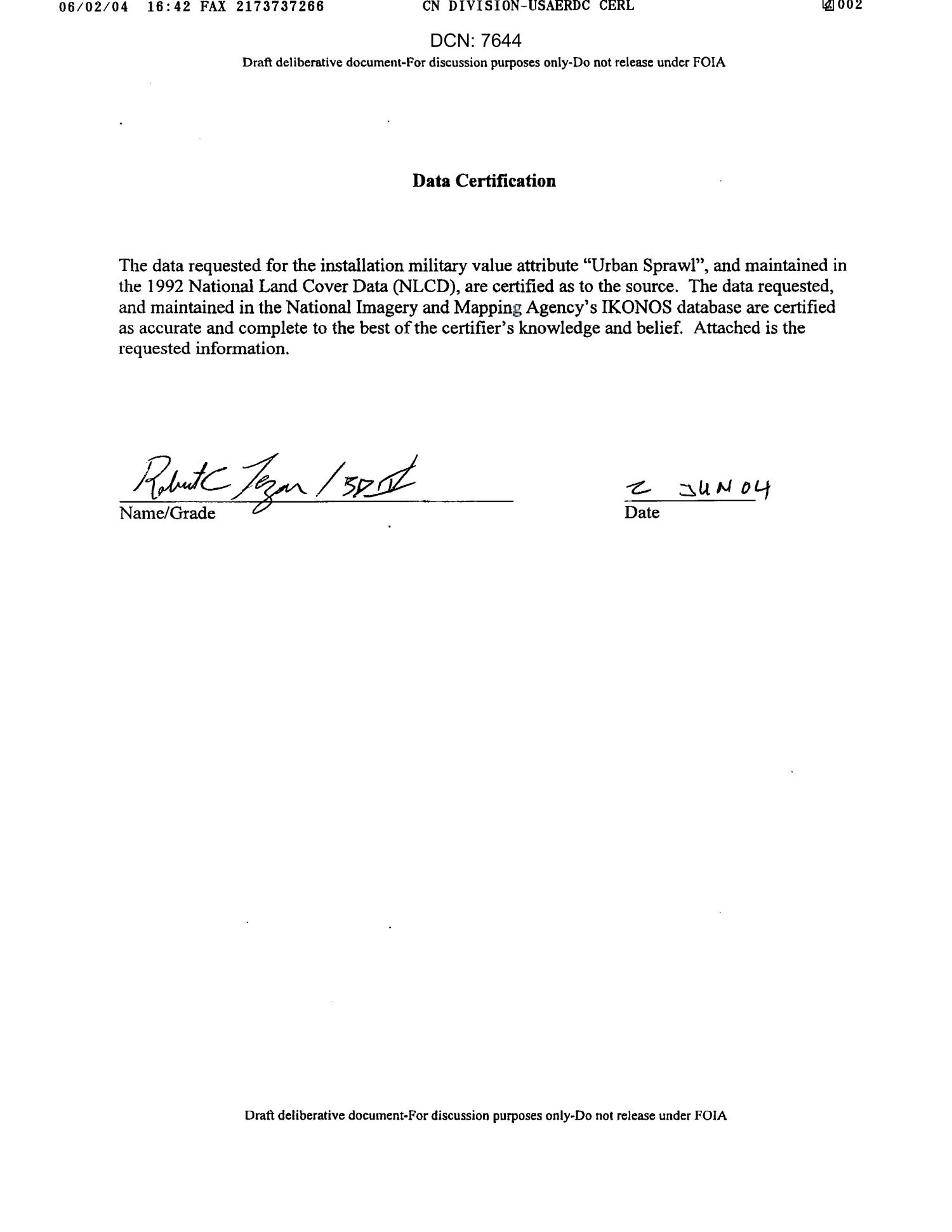 Data Certification Letter