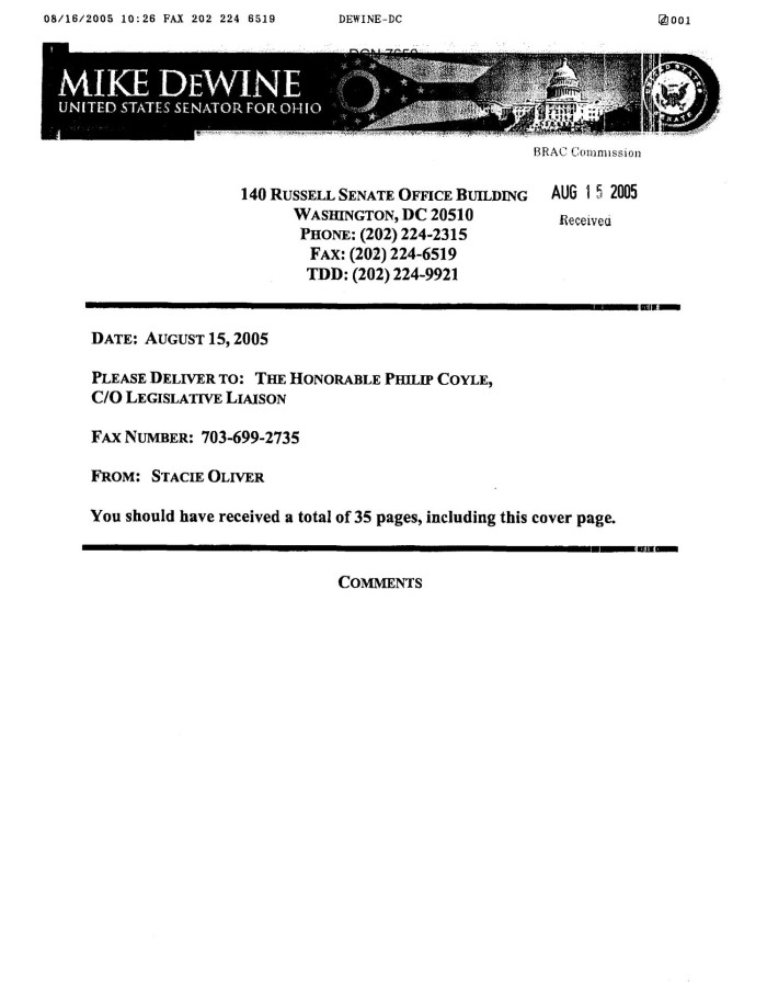 primary view of object titled executive correspondence letter with enclosed documents from ohio senators