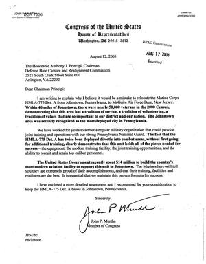 Primary view of object titled 'Executive Correspondence - Letter from Congressman John Murtha (PA) Regarding Marine Corps HMLA-775 Det'.