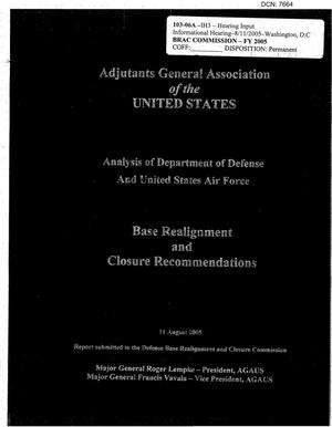 Primary view of object titled 'Adjutants General Association of the United States, Analysis of Department of Defense and U.S. Air Force BRAC Recommendations dtd 11 August 2005'.
