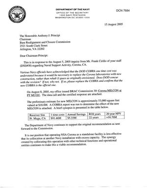 Primary view of object titled 'Department of Defense Clearinghouse Response: DoD Clearinghouse response to a letter from the BRAC Commission regarding Naval Support Activity Corona, CA'.