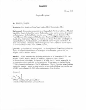 Primary view of object titled 'Department of Defense Clearinghouse Response: DoD Clearinghouse response to a letter from the BRAC Commission regarding Niagara Falls – Impact on other agencies'.