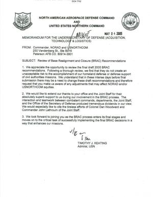 Primary view of object titled 'Memorandum dtd 05/04/05 for the Under Secretary of Defense (Acquisition Technology and Logistics) from Commander NORAD and USNORTHCOM, Admiral Timothy Keating'.