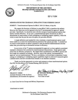Primary view of object titled 'Memorandum dtd 09/17/04 for the Chairman of the Infrastructure Steering Group from Assistant Secretary of the Air Force Nelson Gibbs and AF Vice Chief of Staff General T. Michael Moseley'.