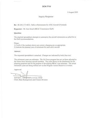 Primary view of object titled 'Department of Defense Clearinghouse Response: DoD Clearinghouse response to a letter from the BRAC Commission regarding table or retirements of ANG aircraft (Freeland)'.