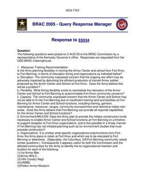 Primary view of object titled 'Department of Defense Clearinghouse Response: DoD Clearinghouse response to a letter from the BRAC Commission regarding Ft. Knox'.