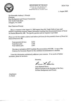 Primary view of object titled 'Department of Defense Clearinghouse Response: DoD Clearinghouse response to a letter from the BRAC Commission regarding NAS Brunswick ME'.