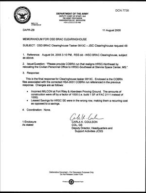 Primary view of object titled 'Department of Defense Clearinghouse Response: DoD Clearinghouse response to a letter from the BRAC Commission regarding COBRA run that realigns HRSC-Northeast by relocating the Civilian Personnel Office to HRSC-Southeast'.