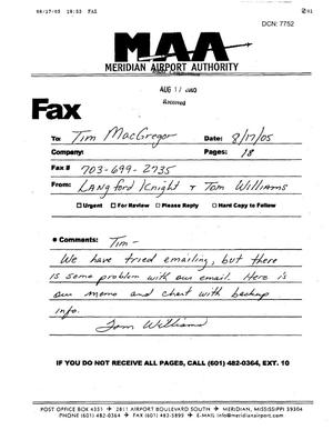 Primary view of object titled 'Executive Correspondence - Fax from Meridian, MS Airport Authority to BRAC Analyst Tim MacGregor dtd 08/17/05'.