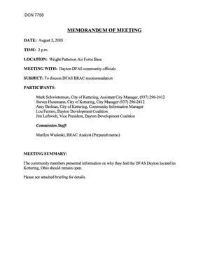 Primary view of object titled '[Memorandum of Meeting: Defense Finance and Accounting Service, Ohio, August 2, 2005]'.