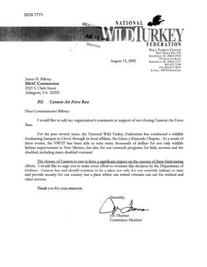 Primary view of object titled 'Coalition Correspondence – Letter dtd 08/15/2005 to all Commissioners from Joe Thomas'.