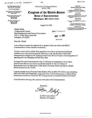 Primary view of object titled 'Executive Correspondence – Letter dtd 08/18/2005 to Deidre Walsh from Representative Elton Gallegly (24th CA)'.