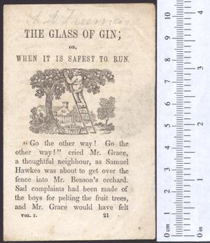 Primary view of The glass of gin; or, when it is safest to run.