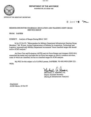 Primary view of object titled 'Memorandum dtd 01/04/04 for the Chairman, Education and Training Joint Cross Service Group from Deputy Assistant Secretary of the Air Force Michael Aimone'.