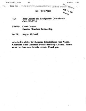 Primary view of object titled 'Executive Correspondence - Letter from Frederick Nance, Chairman, Cleveland Defense Industry Alliance to Chairman Principi dtd 19 August 2005'.
