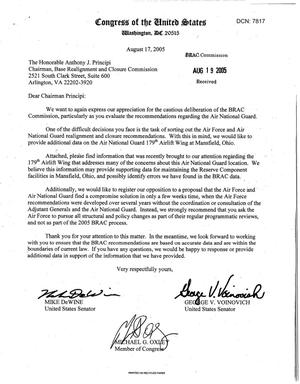 Primary view of object titled 'Executive Correspondence - Letter from Ohio Sen DeWine, Sen Voinovich, and Rep Oxley to Chairman Principi dtd 17 Aug 2005'.