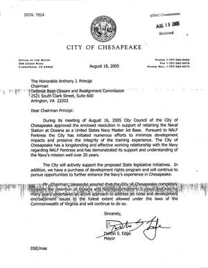 Primary view of object titled 'Executive Correspondence - Letter from the Mayor of Chesapeake, VA to Chairman Principi dtd 18 Aug 05'.