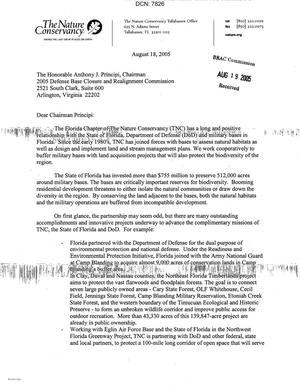Primary view of object titled 'Coalition Correspondence - Letter from the Florida Chapter of the Nature Conservancy State Director to Chairman Principi dtd 18 Aug 05'.
