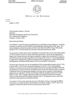 Primary view of object titled 'Executive Correspondence – Three letters dtd 08/12/2005 to Chairman Principi from Rick Perry, (Gov TX)'.