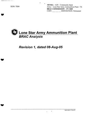 Primary view of object titled 'Lone Star Army Ammunition Plant BRAC Analysis from James Hickey'.