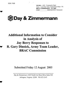 Primary view of object titled 'Lone Star Army Ammunition Plant - Additional Information to Consider in Analysis of Jay Berry Responses to R. Gary Dinsick - from Day & Zimmerman - August 12, 2005'.