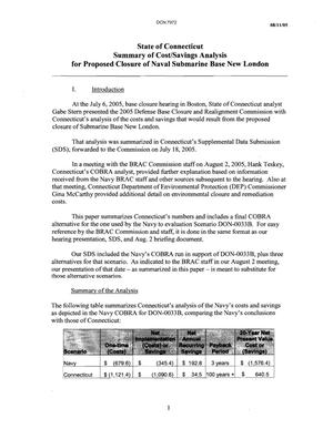 Primary view of object titled 'State of Connecticut Summary of Cost/Savings Analysis for Proposed Closure of Naval Submarine Base New London'.