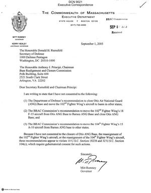 Primary view of object titled 'Executive Correspondence – Letter dtd 09/01/05 to Chairman Principi and Secretary Rumsfeld from MA Governor Mitt Romney'.