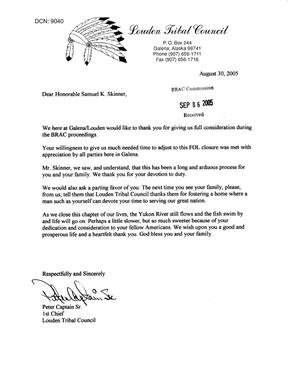 Primary view of object titled 'Letter from Peter Captain Sr., 1st Chief, Louden Tribal Council to Commissioner Skinner dtd 30 Aug 2005'.