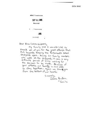 Primary view of object titled 'Letter from Donna Boutin to the BRAC received 6 Sept 2005'.