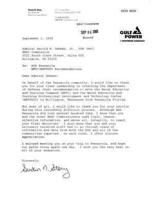 Primary view of object titled 'Letter from Susan Story to Commissioner Gehman dtd 1 Sept 2005'.
