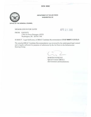 Primary view of object titled 'Legal Sufficiency Memorandum USAF 0068V3 (311Zc3)'.