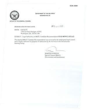 Primary view of object titled 'Legal Sufficiency Memorandum USAF 0079V2 (432.1c2)'.
