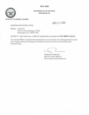 Primary view of object titled 'Legal Sufficiency Memorandum USAF 0083V2 (421c2)'.