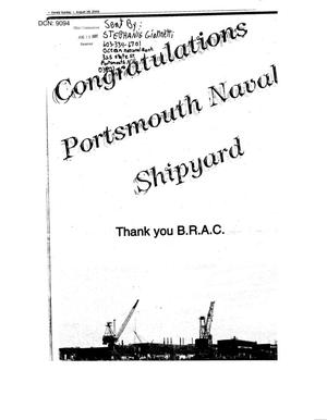 Primary view of object titled 'Newspaper clipping sent by Stepanie Giannetti of Portsmouth New Hamshire to the BRAC Commission.'.