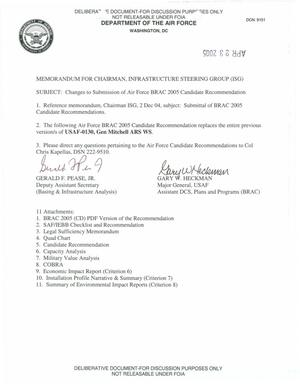 Primary view of object titled 'BRAC Transmittal Memorandum USAF 0130 (324)'.