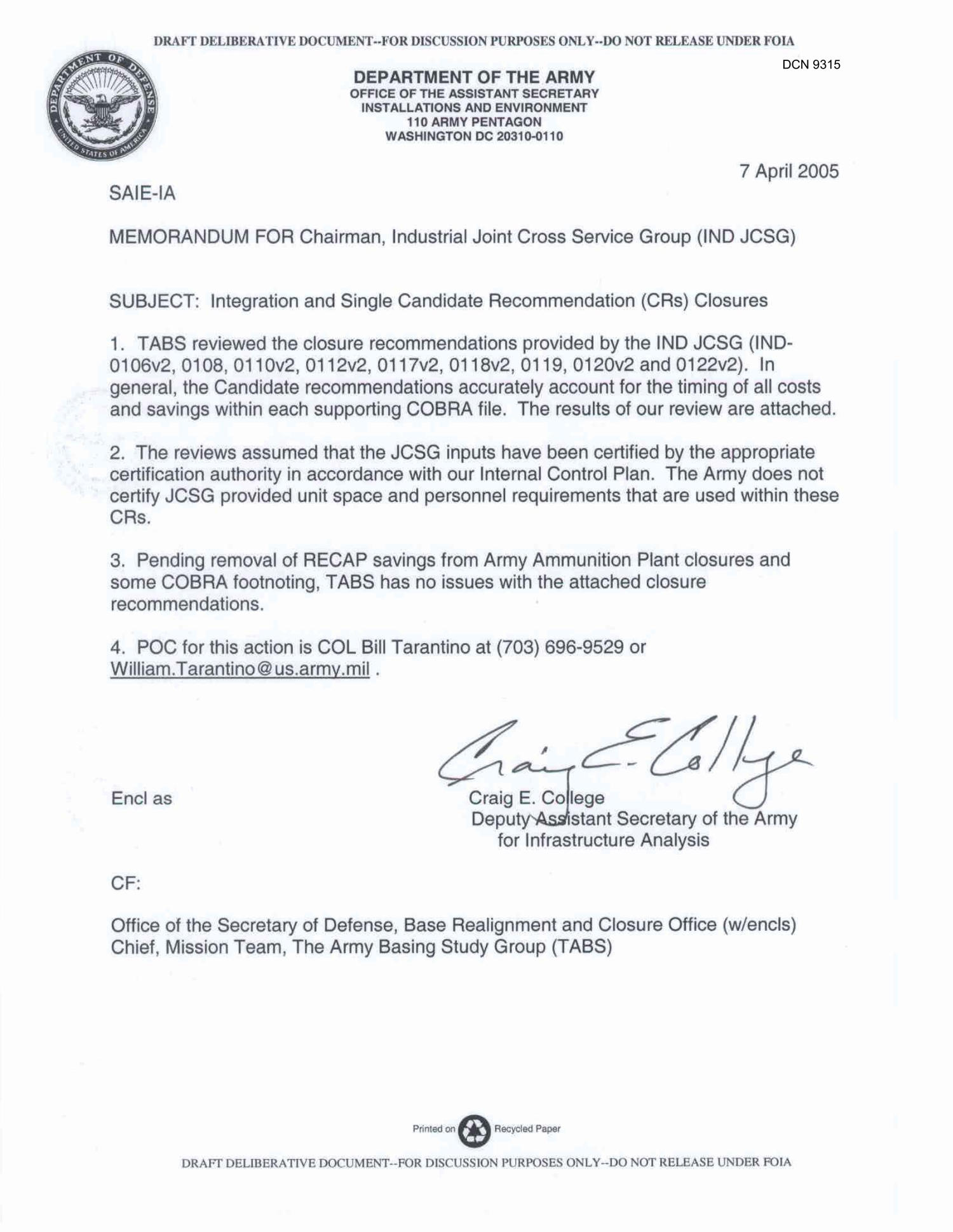 us army memorandum for record template - department of the army memo dated 7 april 2005 for