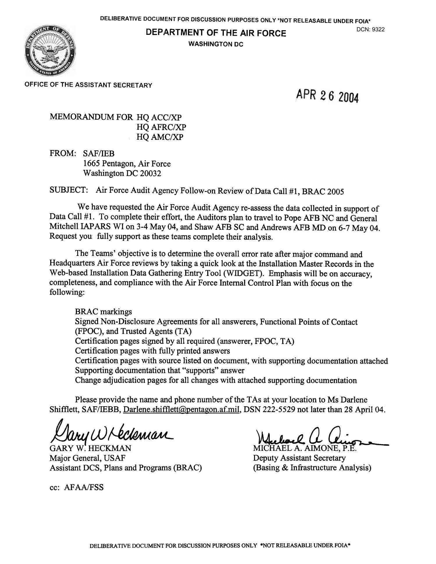 Memorandum In Reference To Air Force Audit Agency Follow On Review