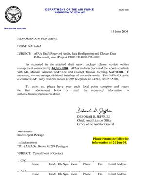 Primary view of object titled 'Memorandum in reference to: SAF-AGA Audit and POC Memo 14 JUN 04'.