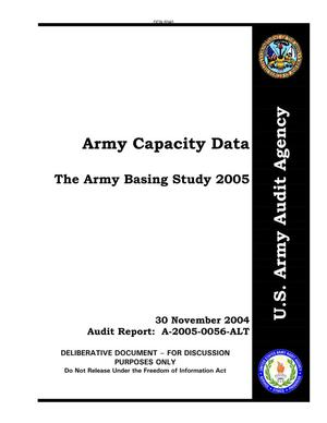 Primary view of object titled 'Report: Army Capacity Data The Army Baing Study 2005 dated 30 Nov 2004'.