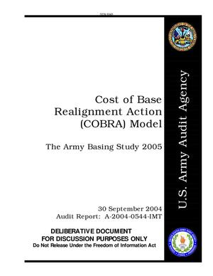 Primary view of object titled 'The Army Basing Study 2005 - (COBRA) Cost of Base Realignment Action'.