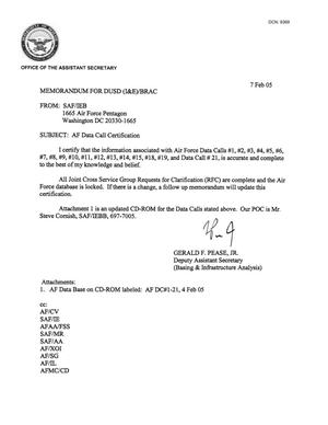 Primary view of object titled 'AF Data  Call Certification, Memo to DUSD 7 Feb 05'.