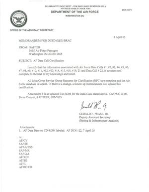Primary view of object titled 'AF Data  Call Certification, Memo to DUSD 8 Apr 05'.