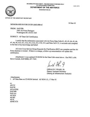 Primary view of object titled 'AF Data  Call Certification, Memo to DUSD 18 Mar 05'.