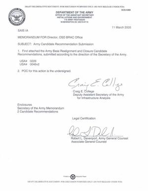 Primary view of object titled 'MEMORANDUM 11 March 2005 Army Candidate Recommendation Submission'.
