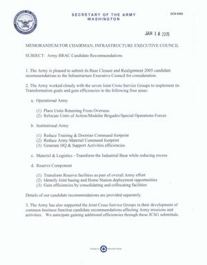 Primary view of object titled 'MEMORANDUM 18 JAN 2005 Army BRAC Candidate Recommendations'.