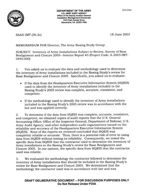 Primary view of object titled 'Memorandum for the Army Basing Study Group dated 18 June 2003'.