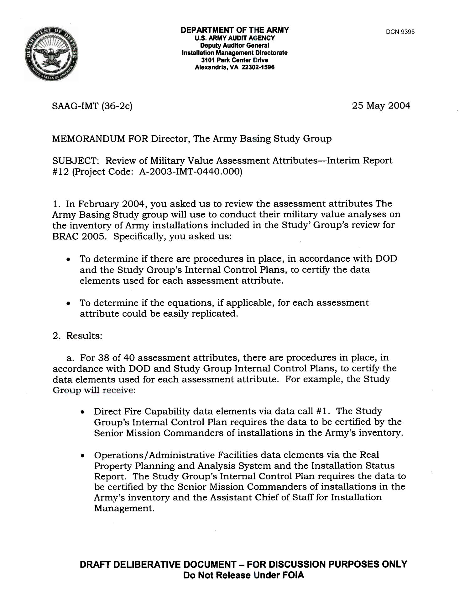 memorandum for director  the army basing study group