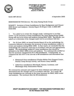 Primary view of object titled 'MEMORANDUM FOR Director, The Army Basing Study GroupInventory of Army Installations for Base Realignment and Closure2005 Review and Analyses-Interim Report #5'.