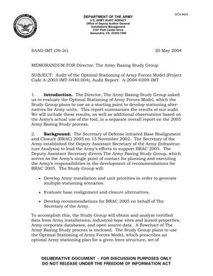 Primary view of object titled 'Memorandum for the Director, The Army Basing Study Group Audit of the Optimal Stationing of Army Forces Model dated 20 May 2004'.
